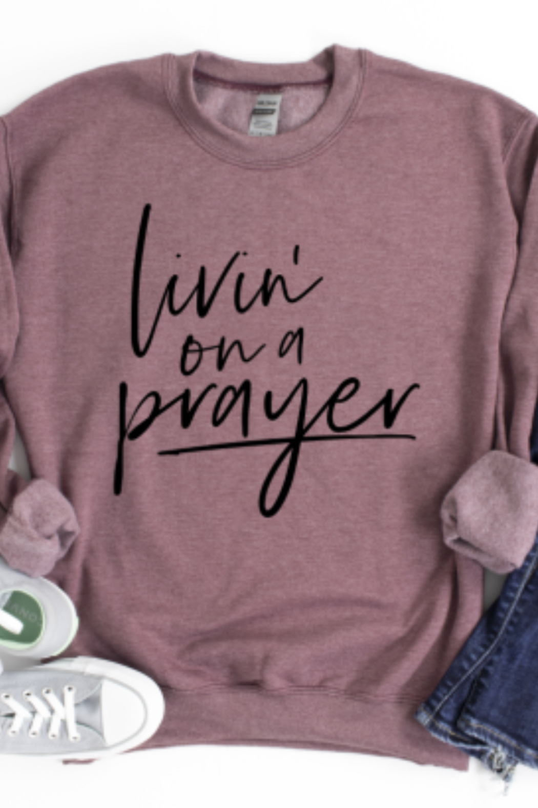 Lyn -Maree's Livin' on a Prayer Crewneck - Front Cropped Image