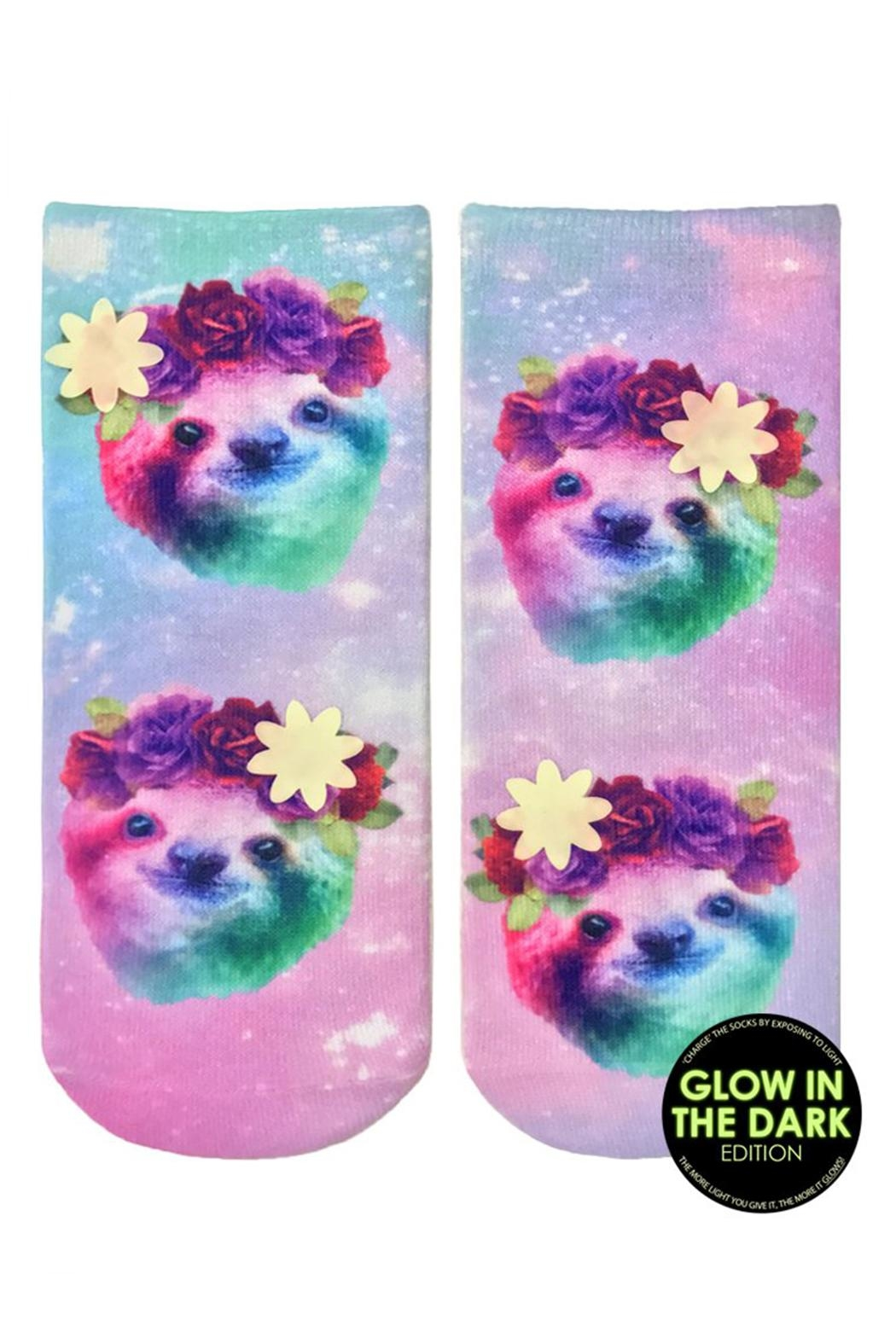 Living Royal Glow Sloth Socks - Front Cropped Image