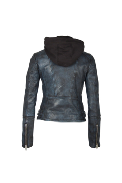 Mauritius Liya Blue Black Leather Jacket - Alternate List Image