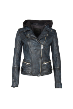 Mauritius Liya Blue Black Leather Jacket - Product List Image