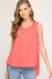 She + Sky Liza Button Tank - Front cropped
