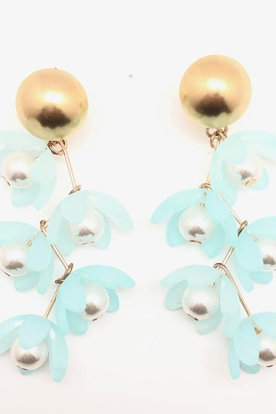 SHIVER + DUKE Liza Flower Dangle Earrings - Front Full Image