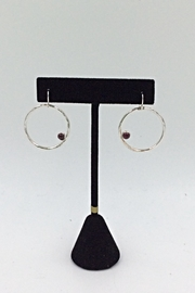 LJ Jewelry Designs Garnet Hoop Earrings - Product Mini Image