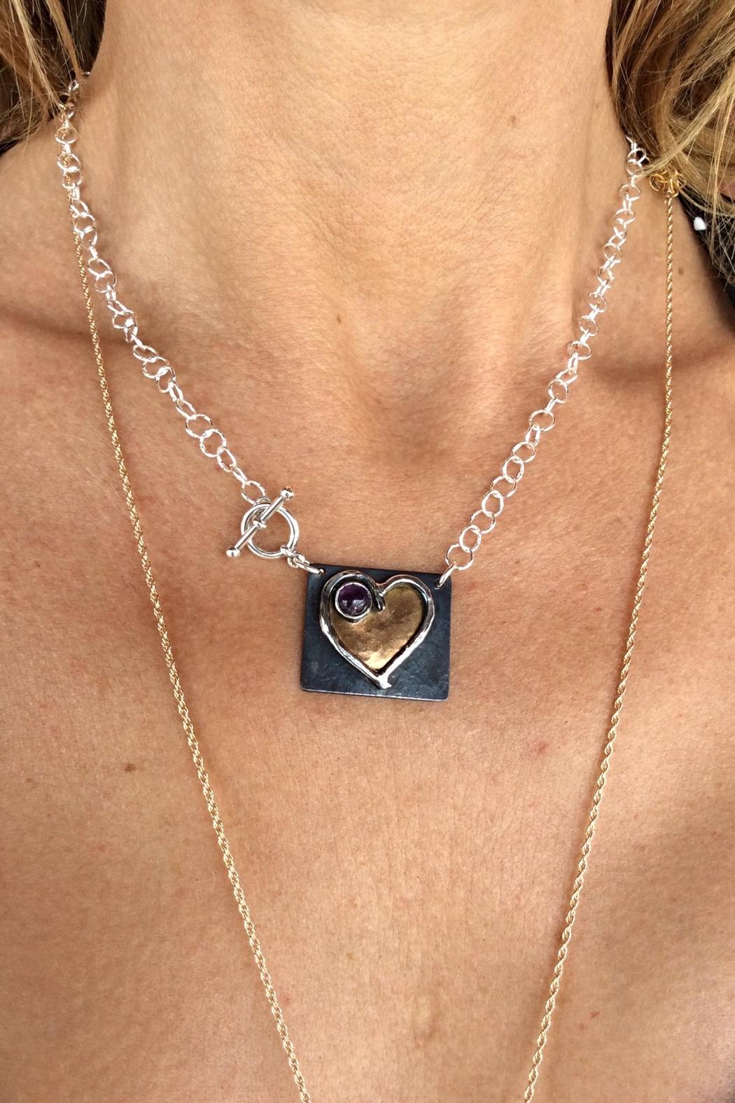 LJ Jewelry Designs Heart Amethyst Necklace - Front Full Image
