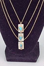 LJ Jewelry Designs Triple Turquoise Necklace - Front cropped