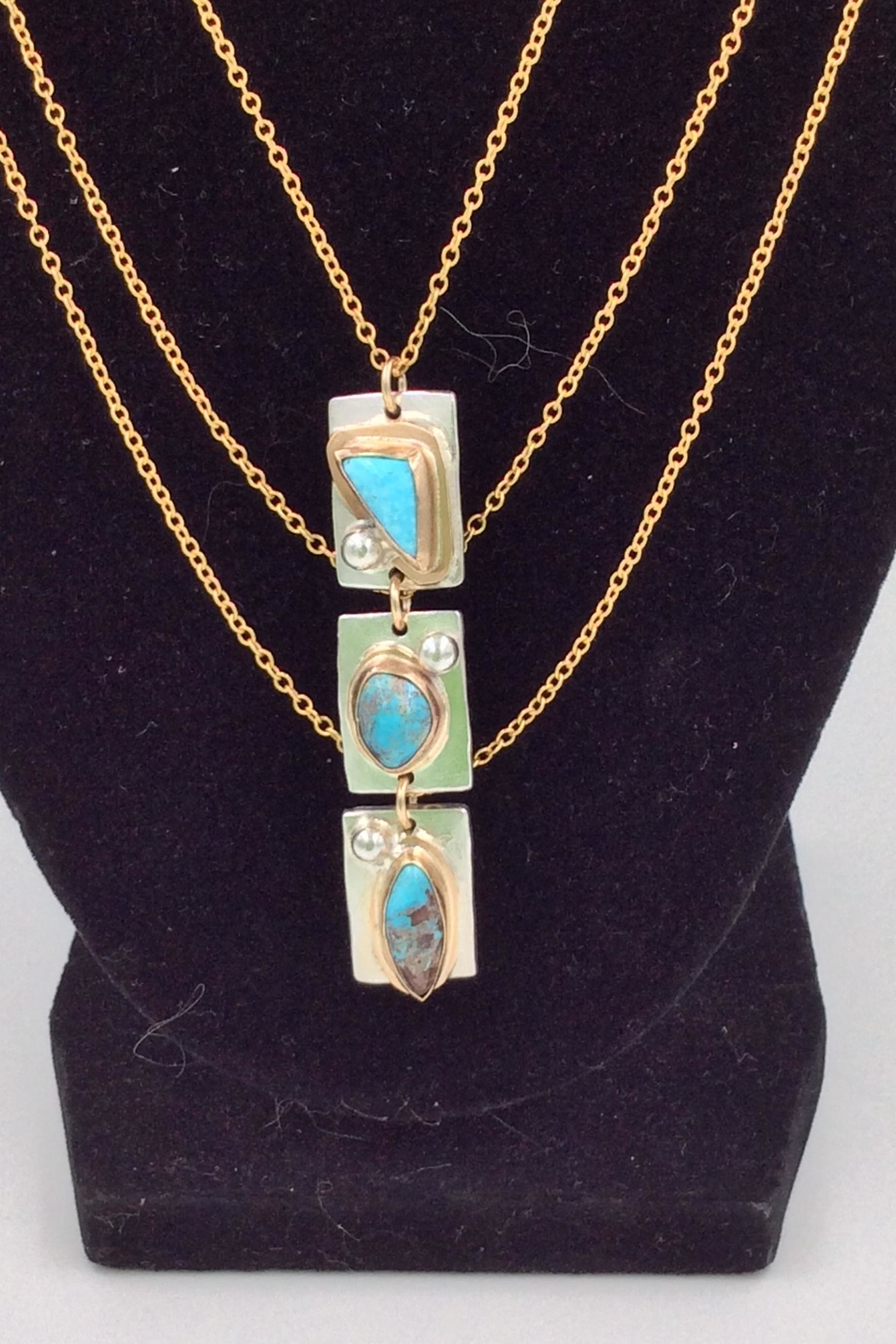 LJ Jewelry Designs Triple Turquoise Necklace - Front Full Image