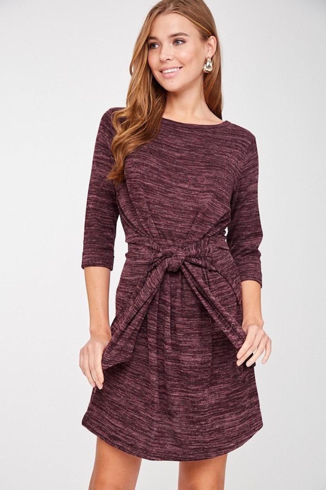 LLove Plum Soft Tie Dress - Side Cropped Image