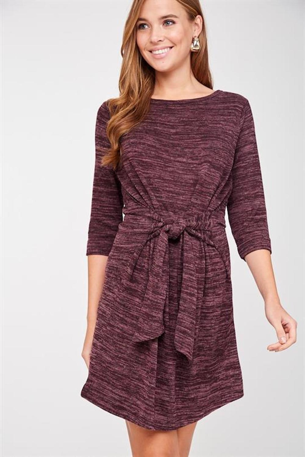 LLove Plum Soft Tie Dress - Main Image