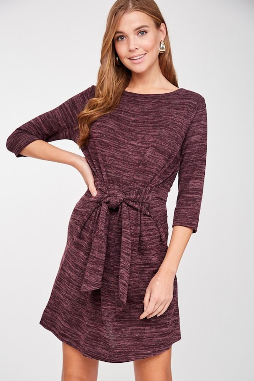 LLove Plum Soft Tie Dress - Front Full Image