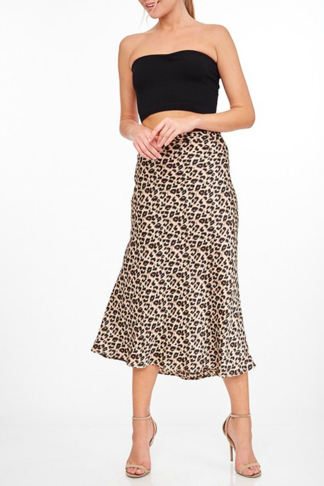 LLove Rachel Leopard Midi-Skirt - Front Cropped Image