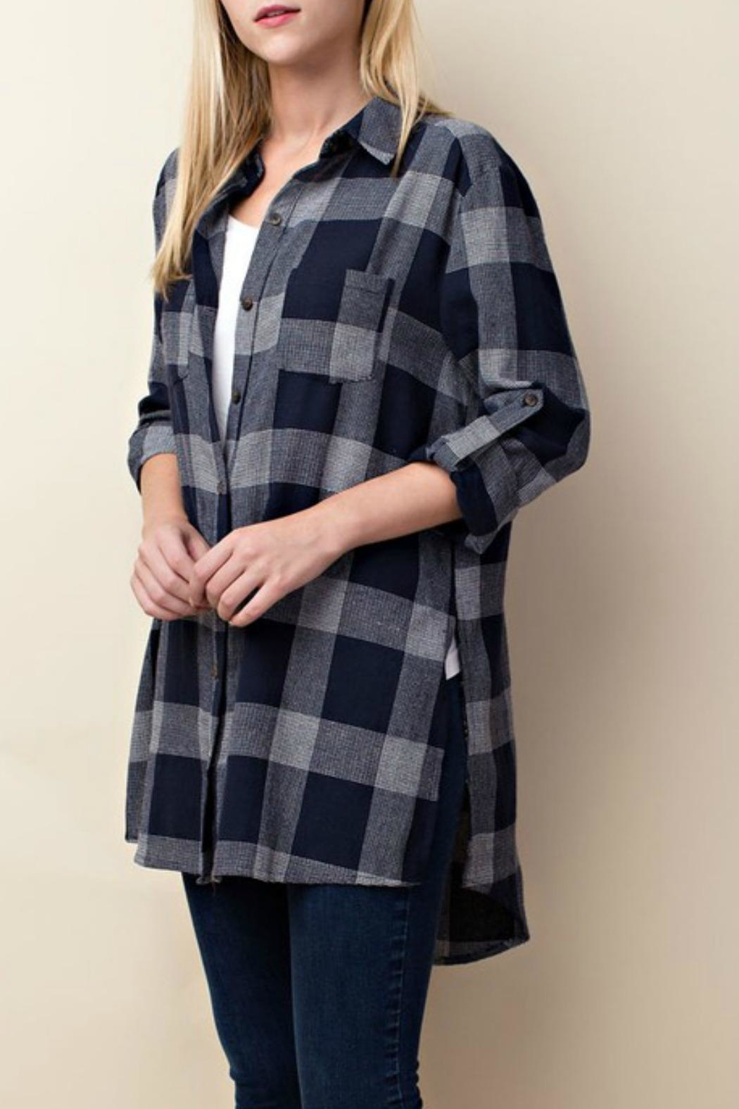 LLove USA Checkered Navy Top - Front Full Image