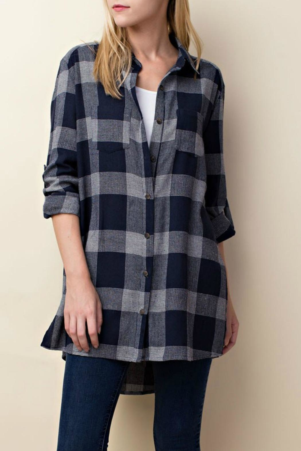 LLove USA Checkered Navy Top - Front Cropped Image
