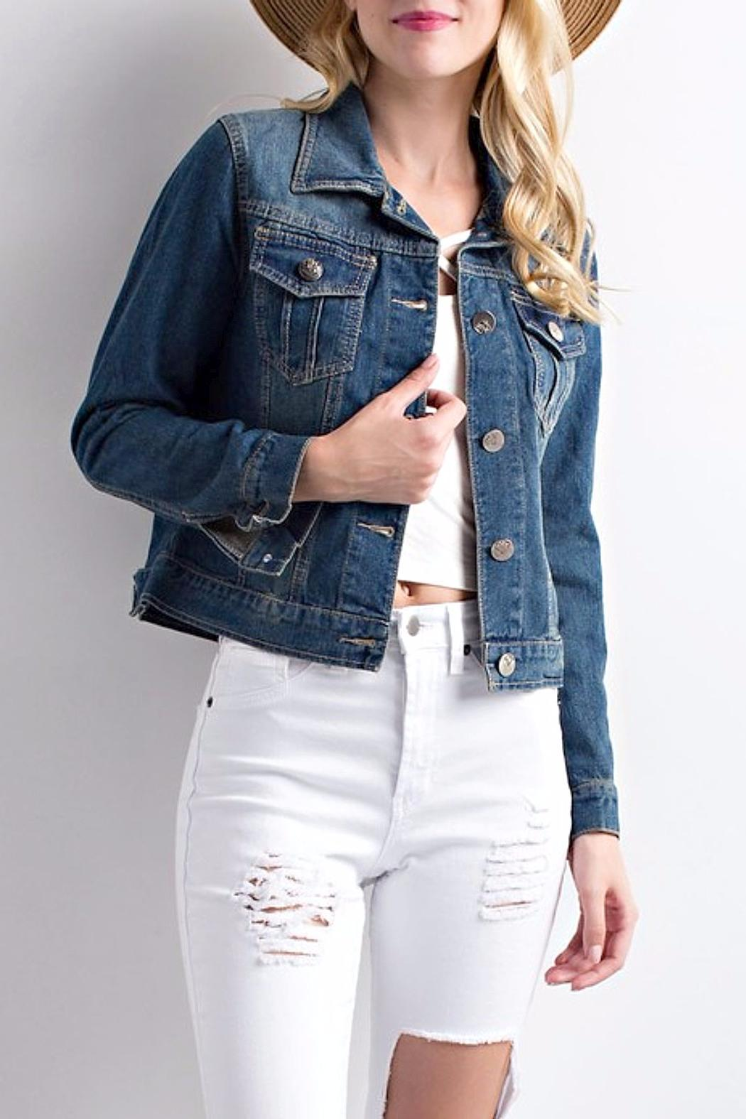 LLove USA Cropped Denim Jacket - Front Cropped Image