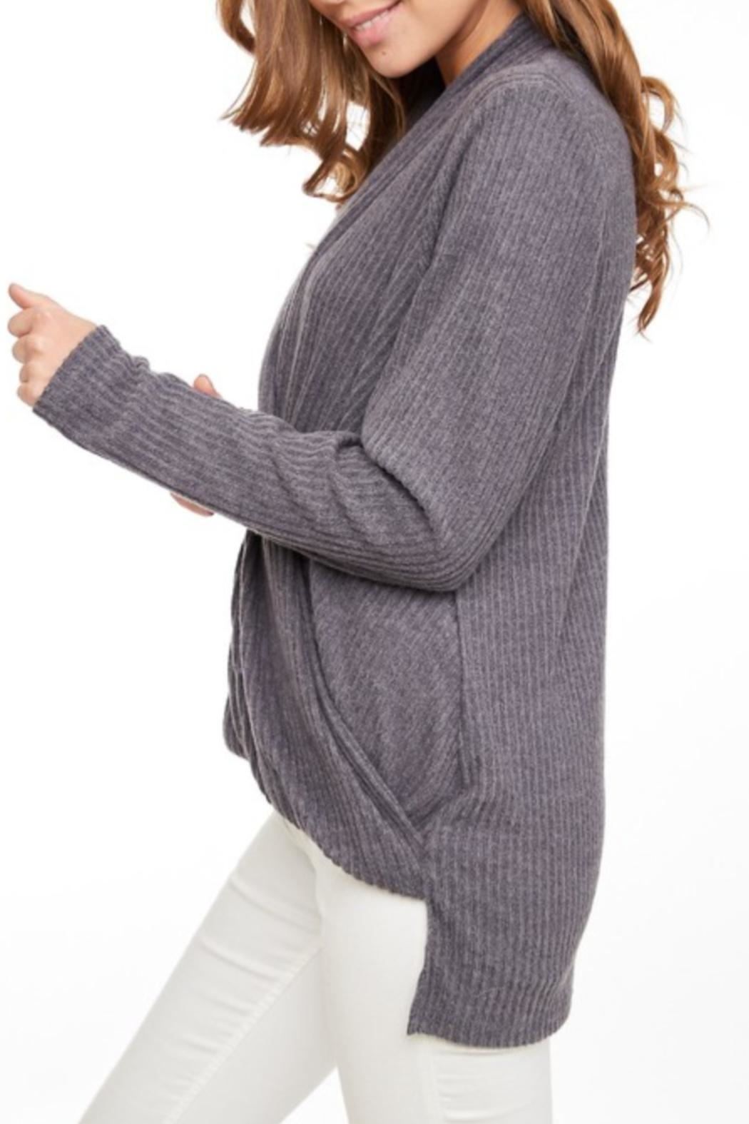 LLove USA Crossed Ribbed Top - Front Full Image