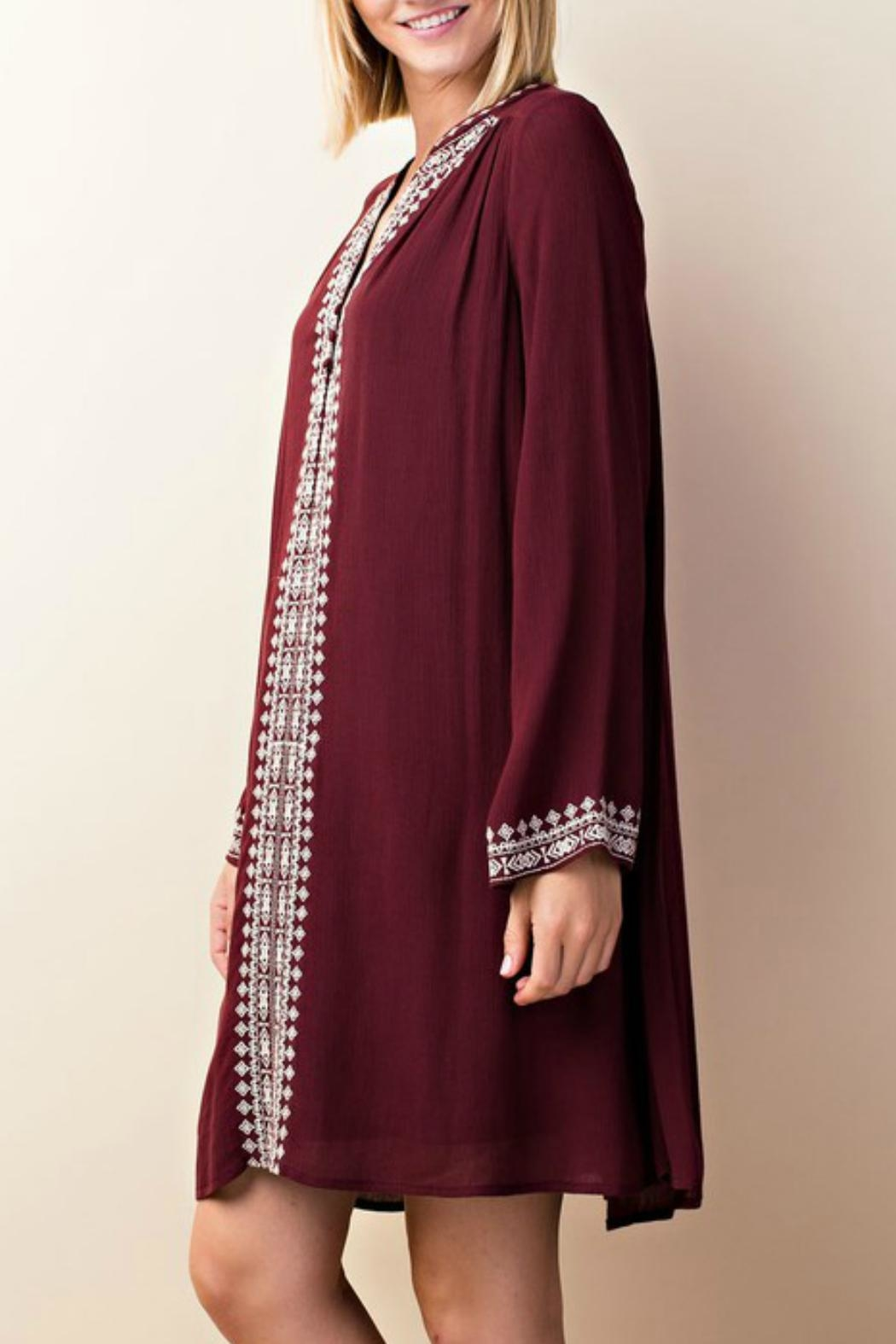 LLove USA Embroidered Burgundy Dress - Side Cropped Image