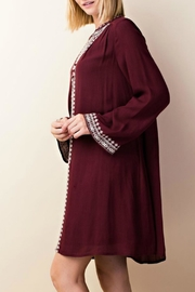 LLove USA Embroidered Burgundy Dress - Back cropped