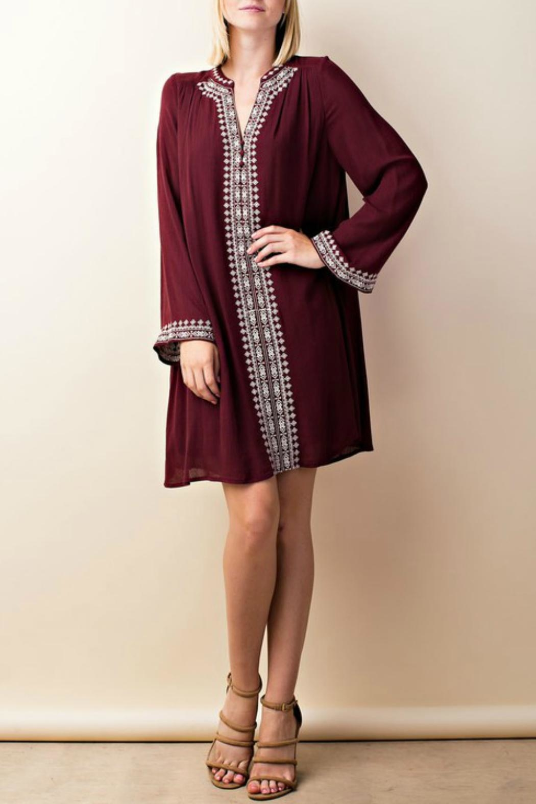 LLove USA Embroidered Burgundy Dress - Front Full Image