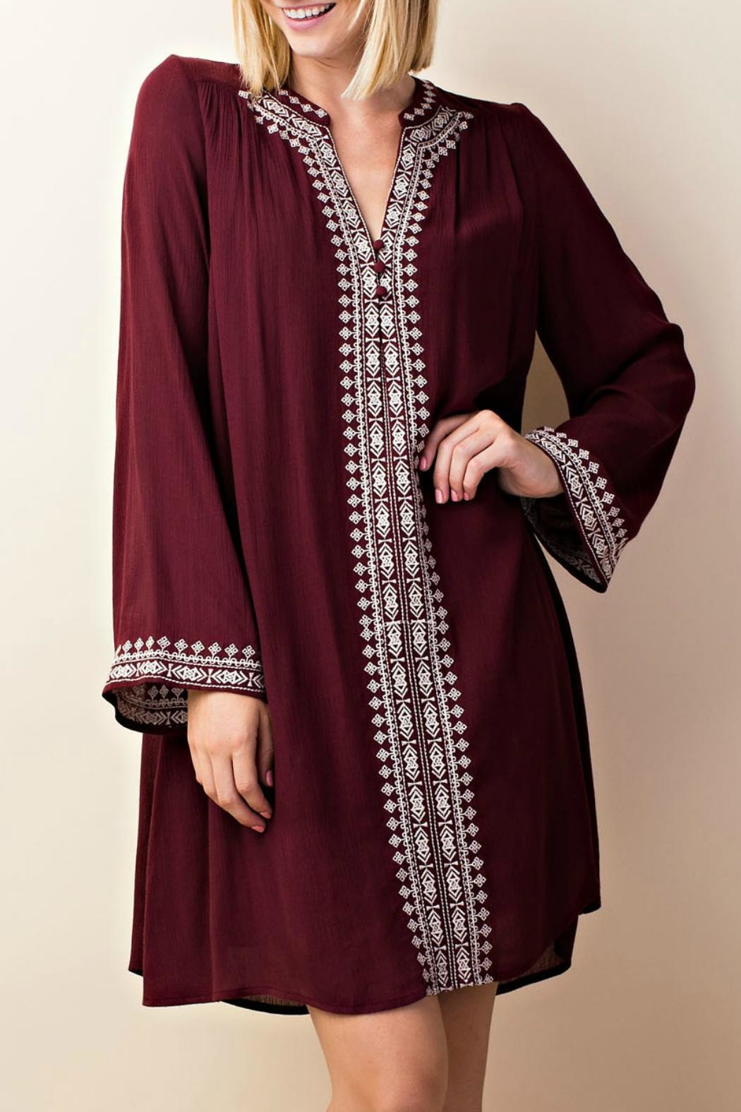 LLove USA Embroidered Burgundy Dress - Front Cropped Image