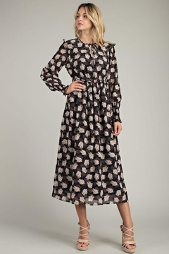 LLove USA Kayla Floral Midi In Black - Product List Image