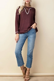 LLove USA Knit Lace-Up Sweater - Other