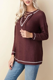 LLove USA Knit Lace-Up Sweater - Front full body