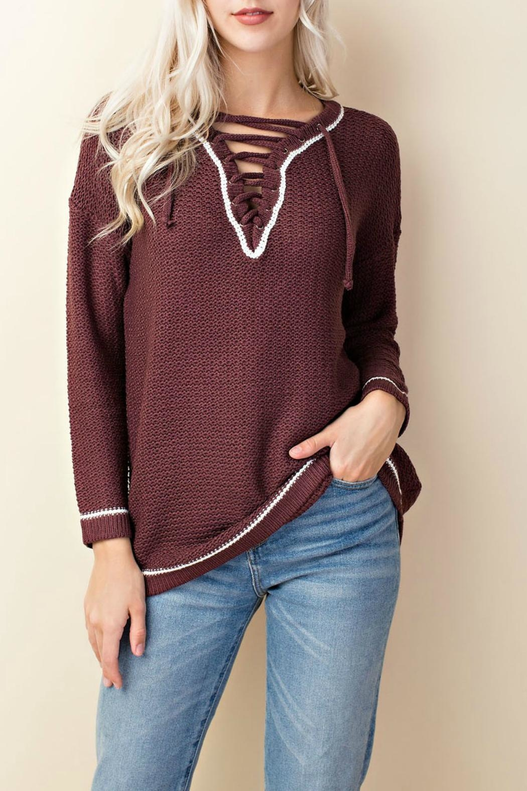 LLove USA Knit Lace-Up Sweater - Front Cropped Image