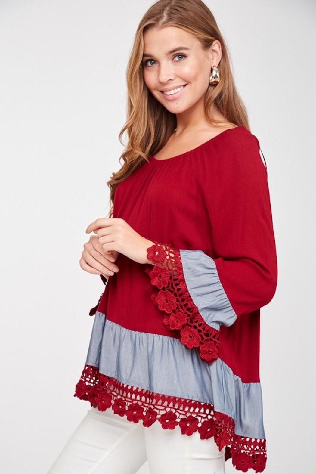 LLove USA Lady In Red Blouse - Back Cropped Image