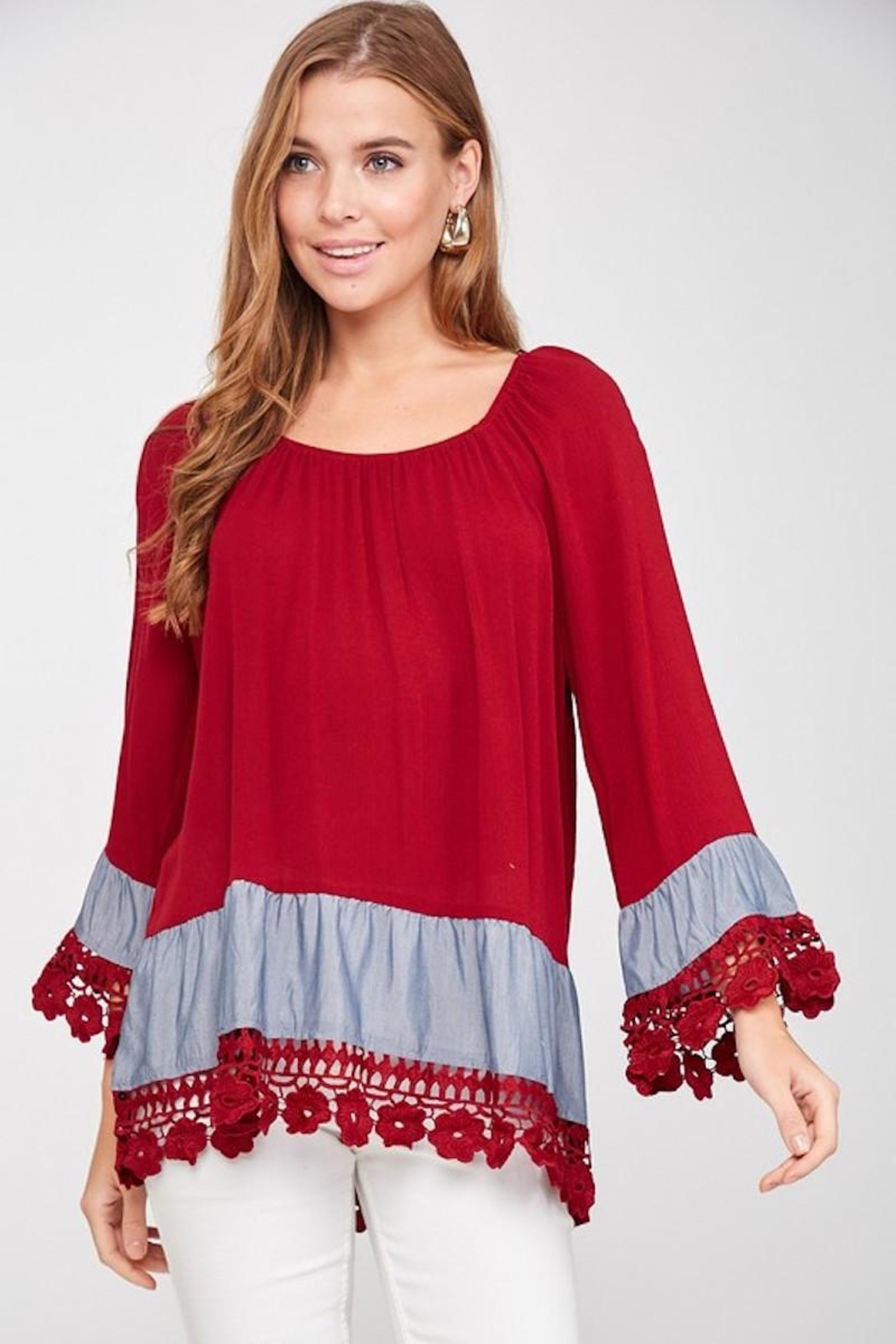 LLove USA Lady In Red Blouse - Side Cropped Image