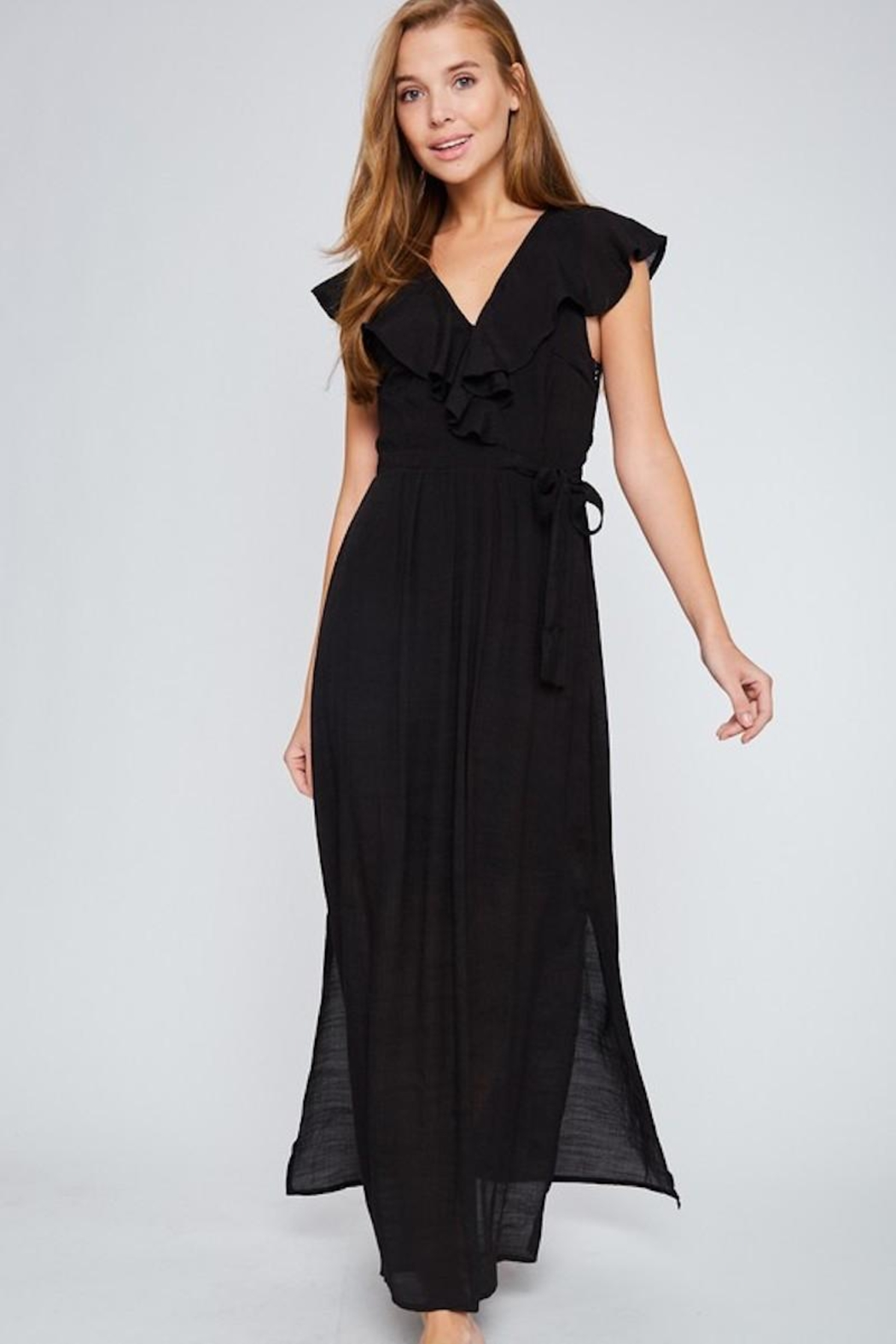 LLove USA Let's Go Black Maxi - Front Cropped Image