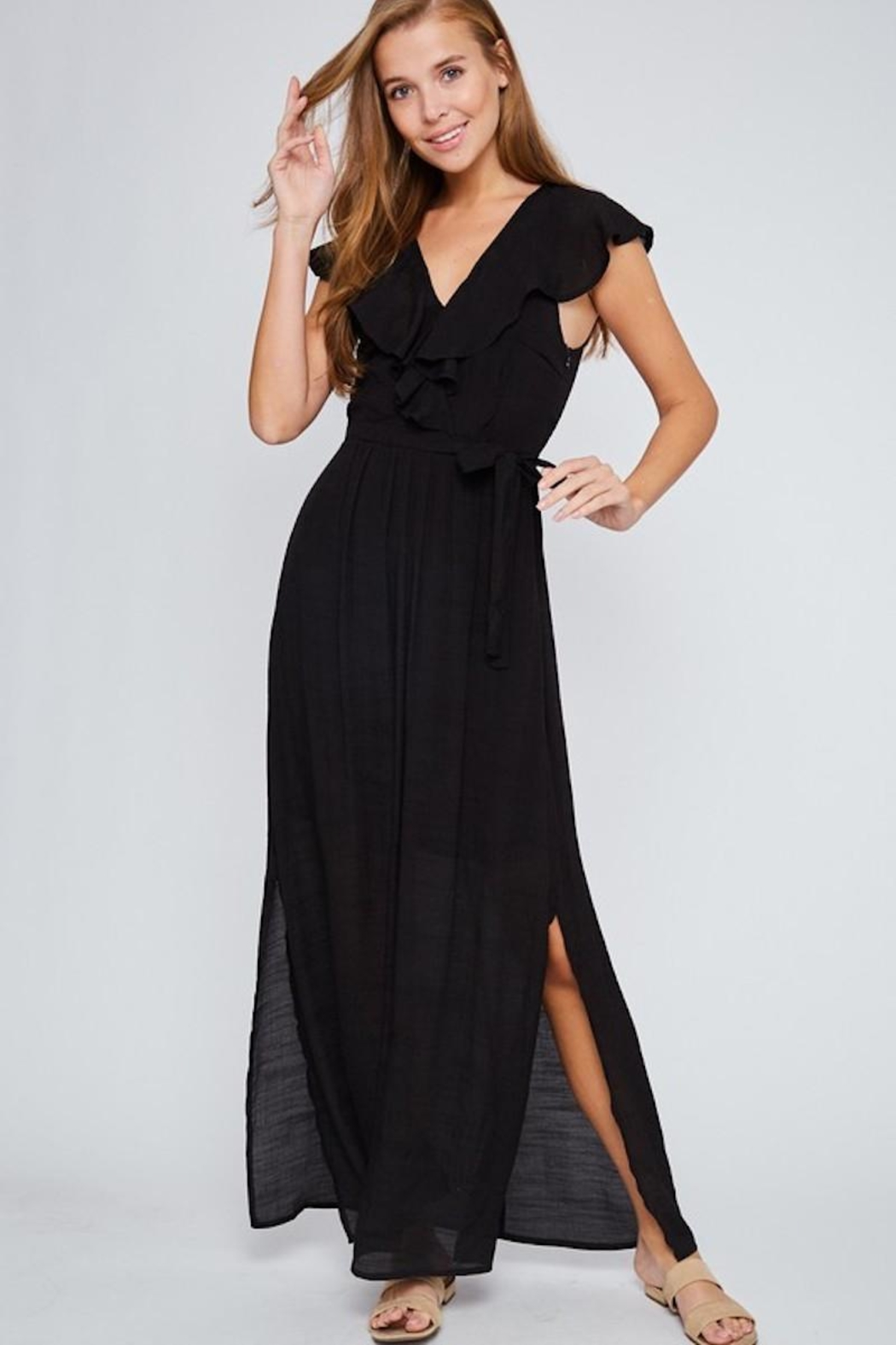 LLove USA Let's Go Black Maxi - Side Cropped Image