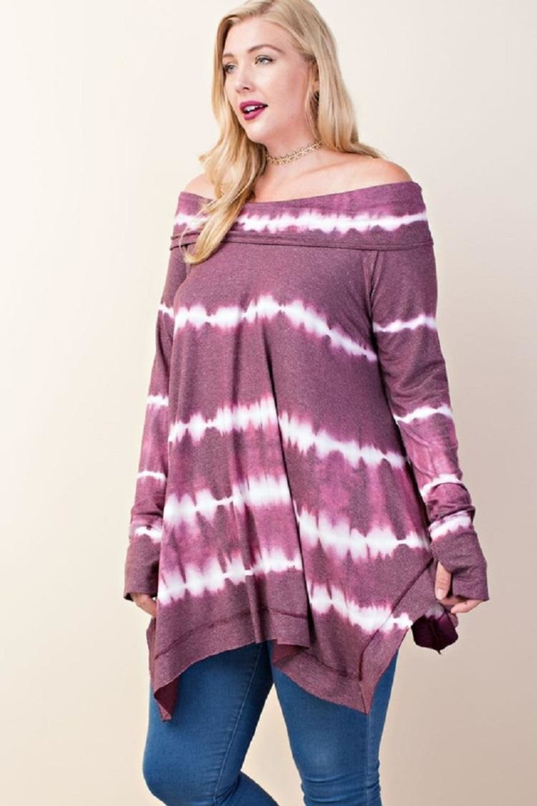 LLove USA Off Shoulder Tunic - Front Cropped Image