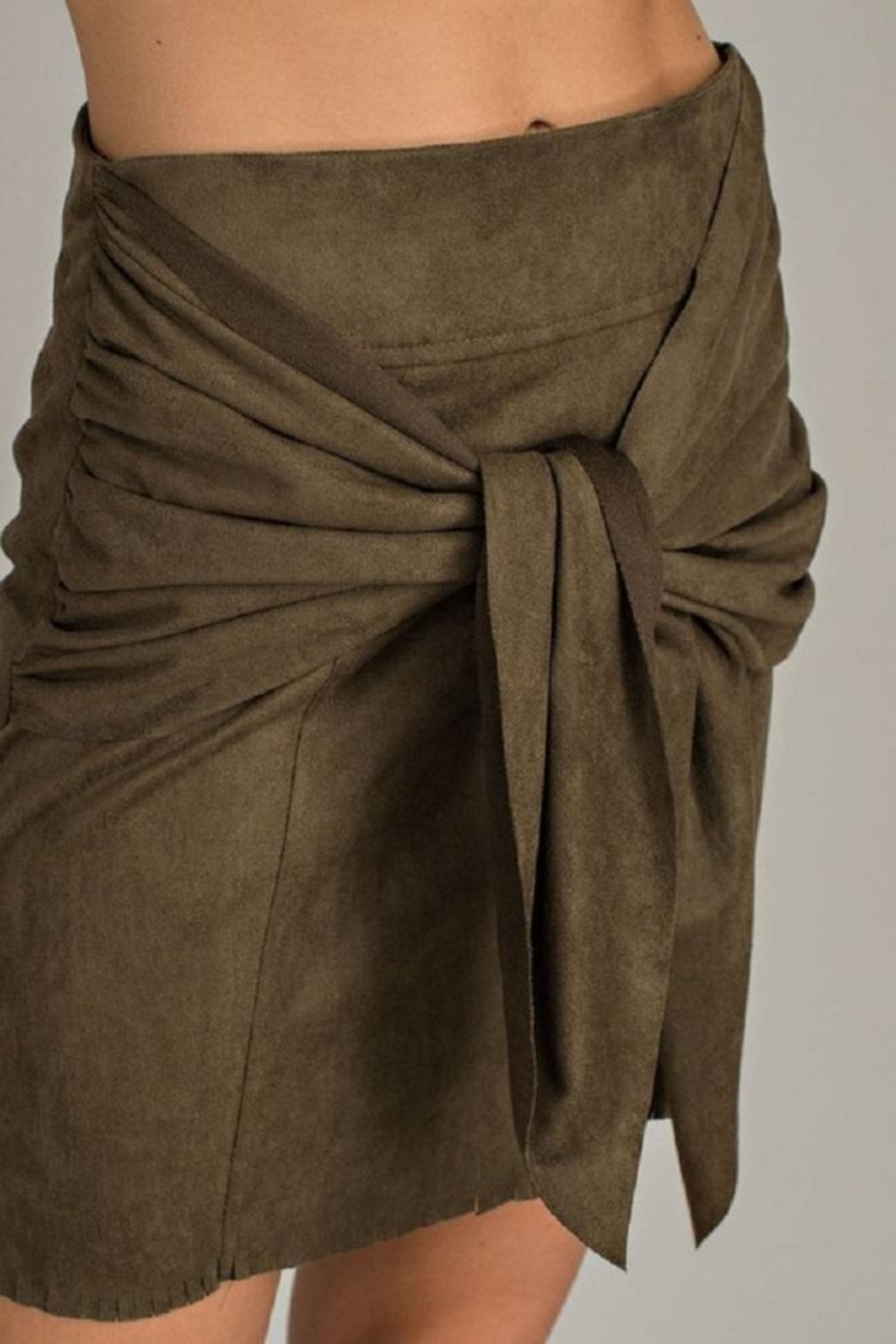LLove USA Olive Front-Tie Skirt - Front Full Image