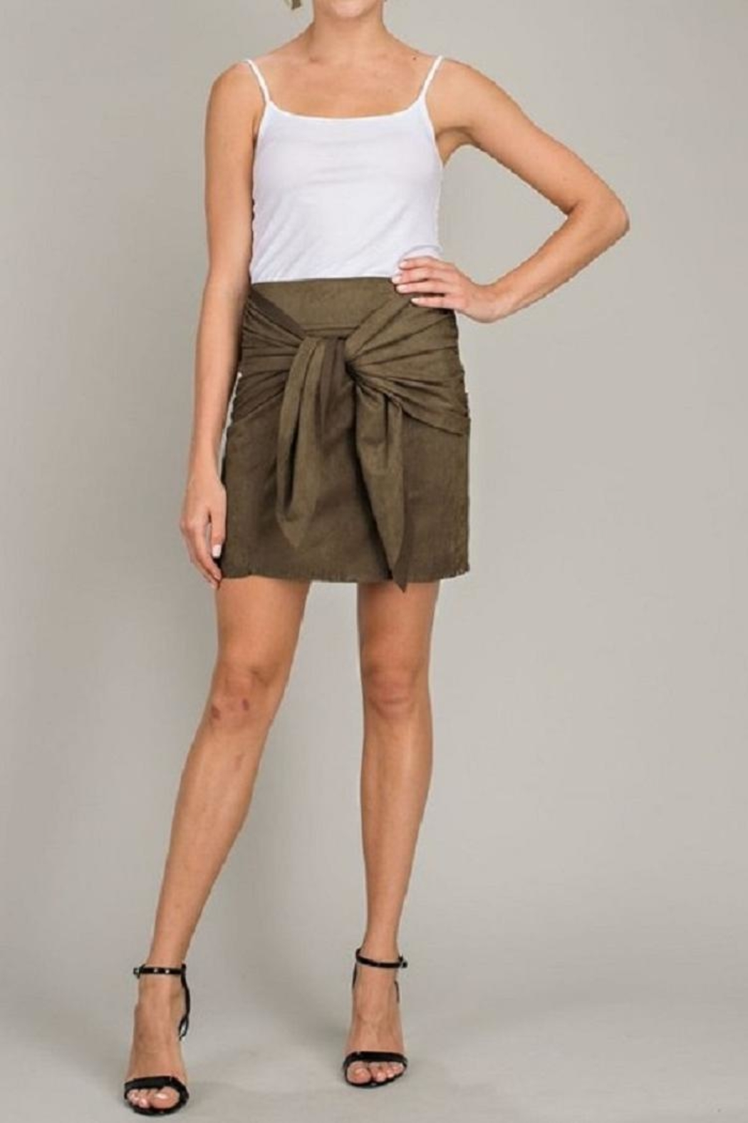 LLove USA Olive Front-Tie Skirt - Main Image