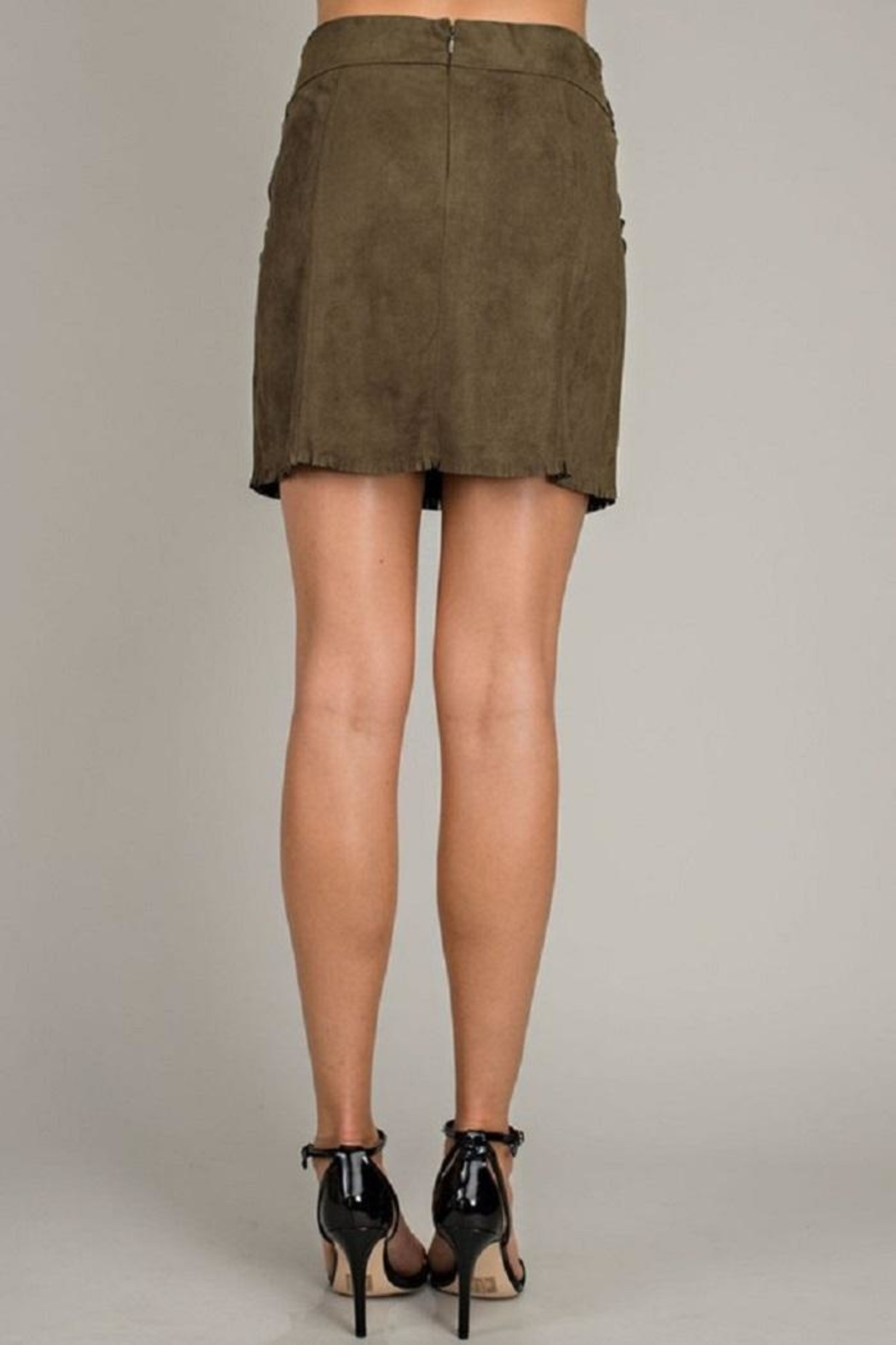 LLove USA Olive Front-Tie Skirt - Side Cropped Image