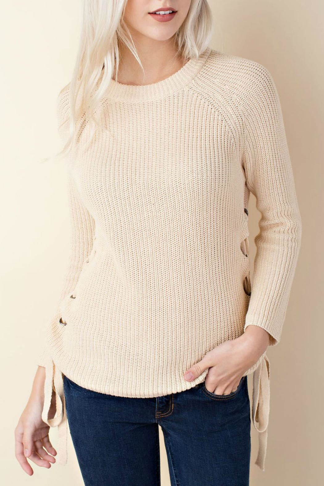 LLove USA Side Lace-Up Sweater - Main Image