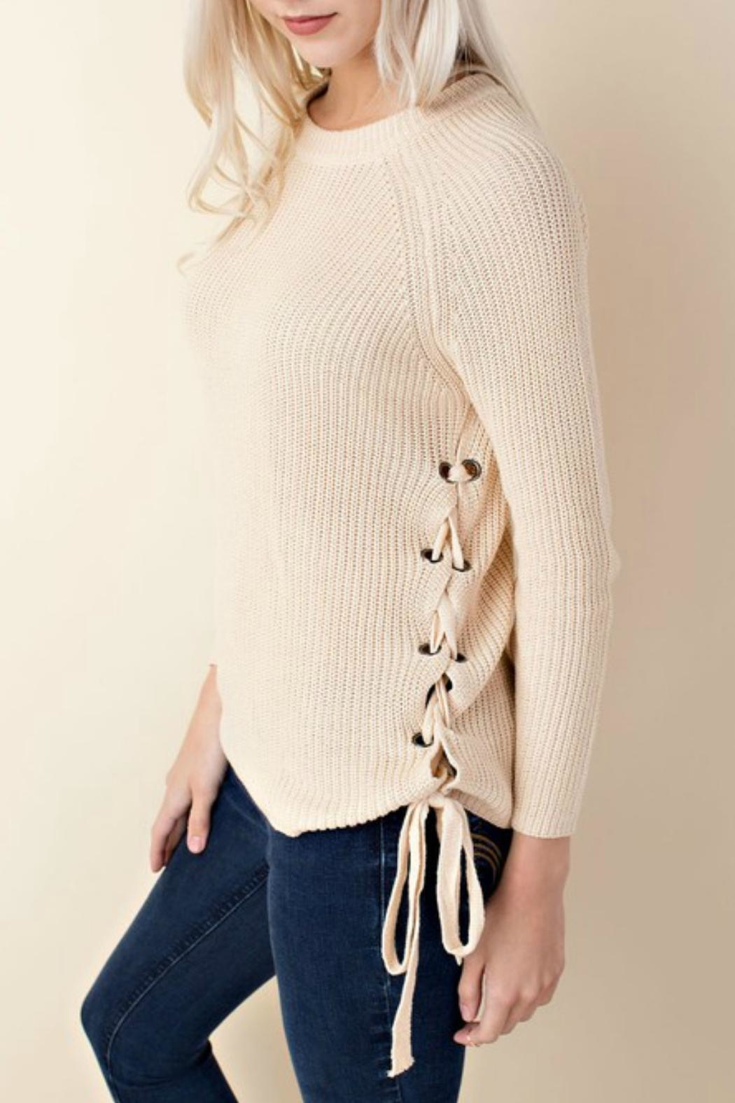 LLove USA Side Lace-Up Sweater - Front Full Image