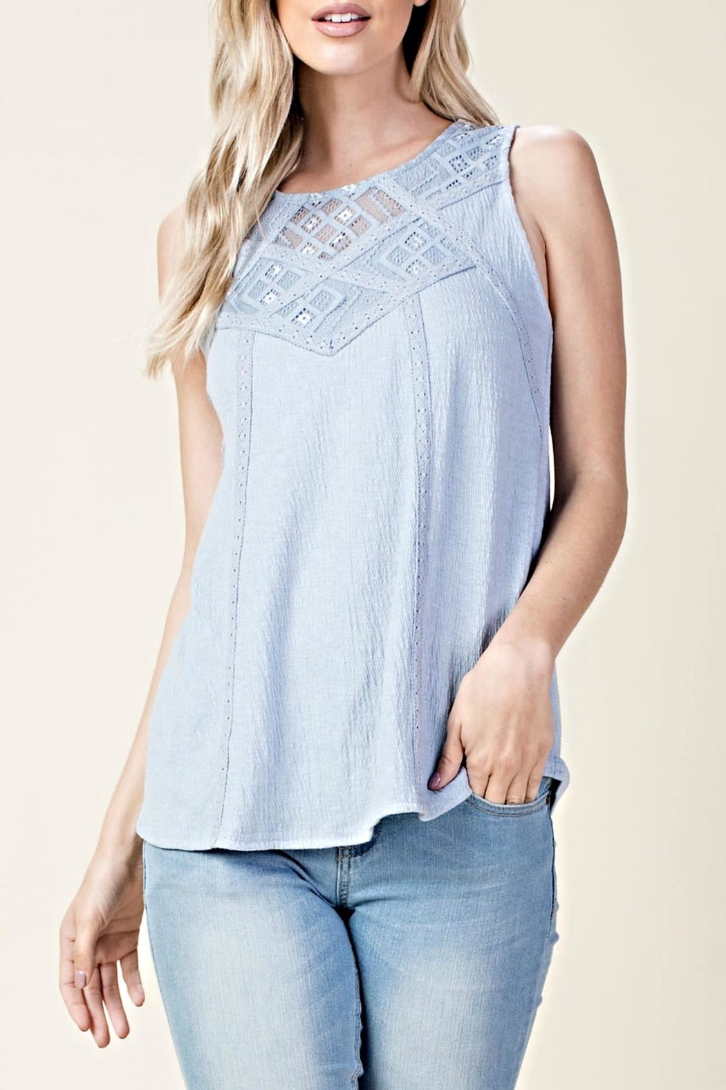 LLove USA Sleeveless Crisscross Top - Front Cropped Image