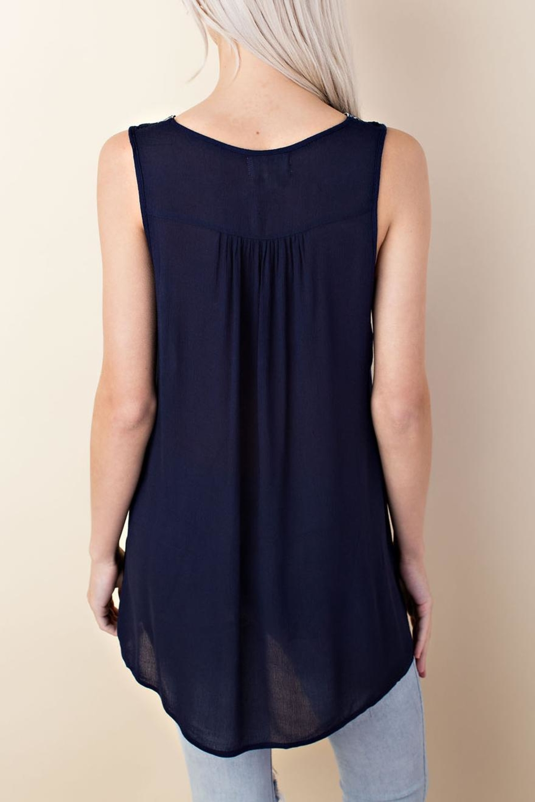 LLove USA Sleeveless Embroidered Top - Front Full Image