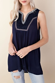 LLove USA Sleeveless Embroidered Top - Front cropped