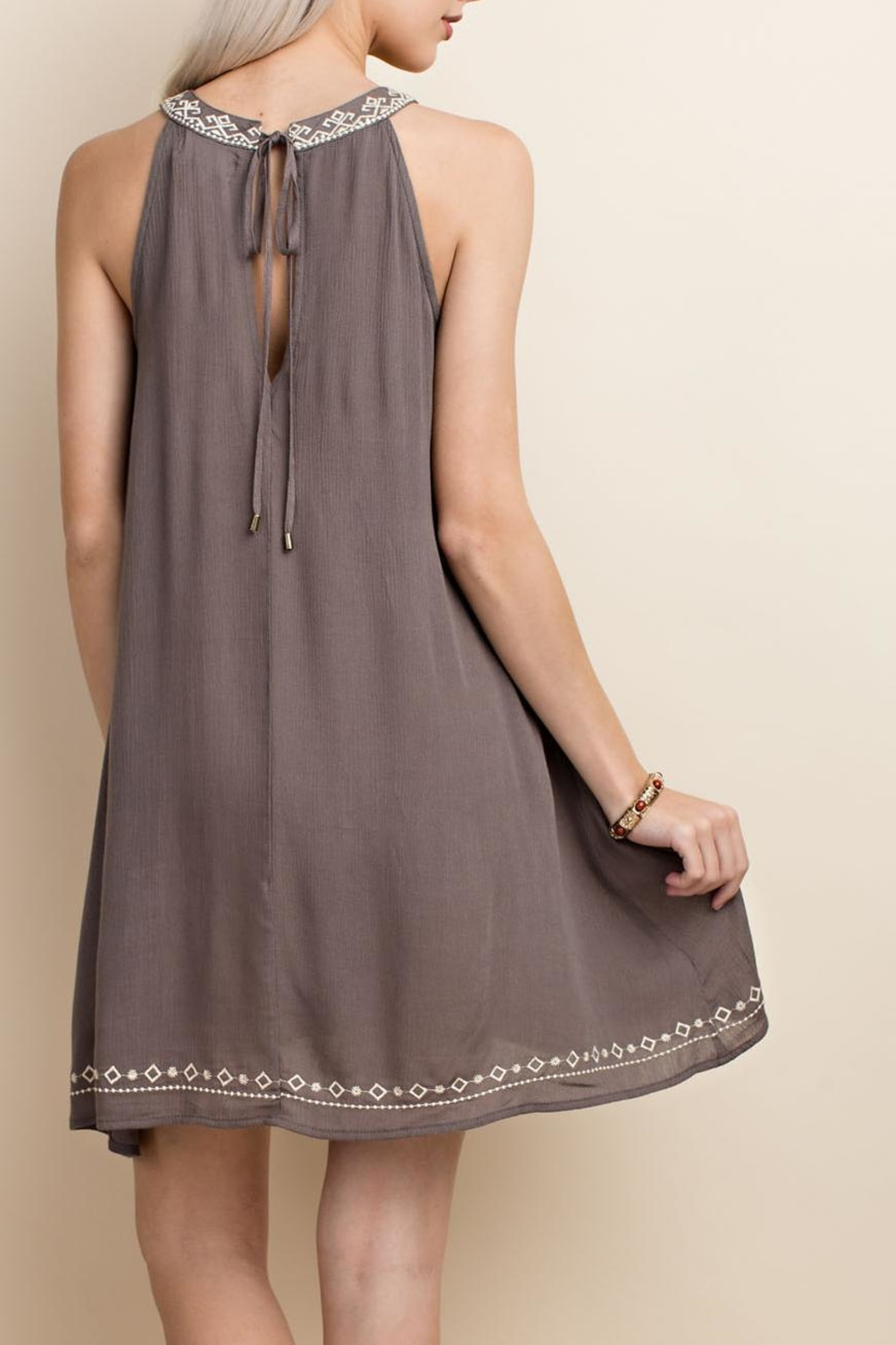 LLove USA Sleeveless Embroidery Dress - Front Full Image