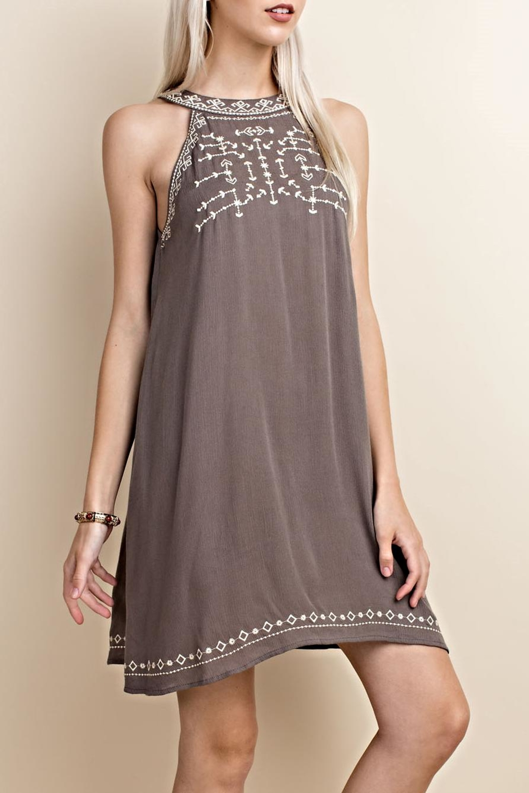 LLove USA Sleeveless Embroidery Dress - Front Cropped Image
