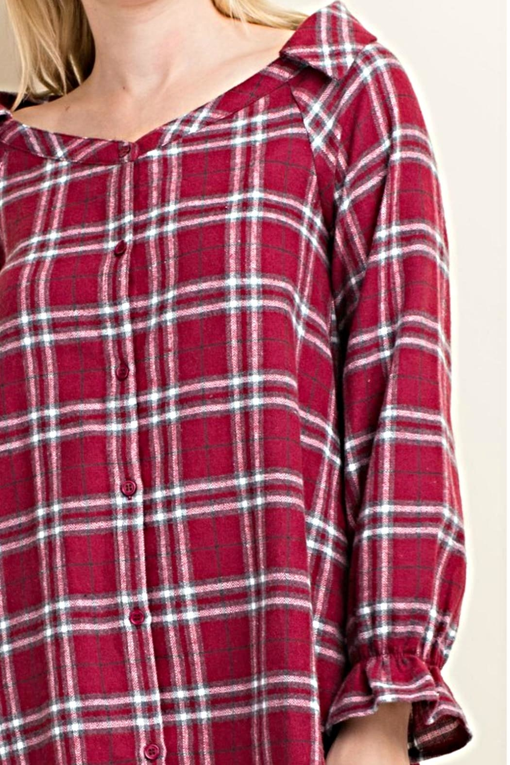 LLove USA Trendy Flannel Plaid Top - Front Full Image