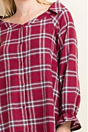 LLove USA Trendy Flannel Plaid Top - Front full body