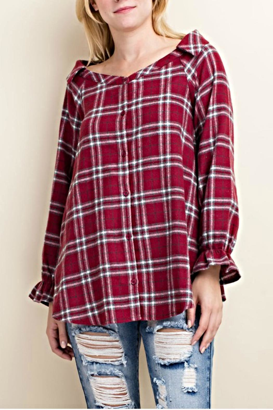 LLove USA Trendy Flannel Plaid Top - Main Image