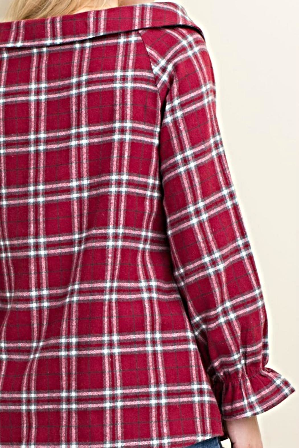 LLove USA Trendy Flannel Plaid Top - Side Cropped Image