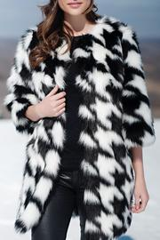 Locust Whimsy Faux Fox Houndstooth Coat - Front cropped