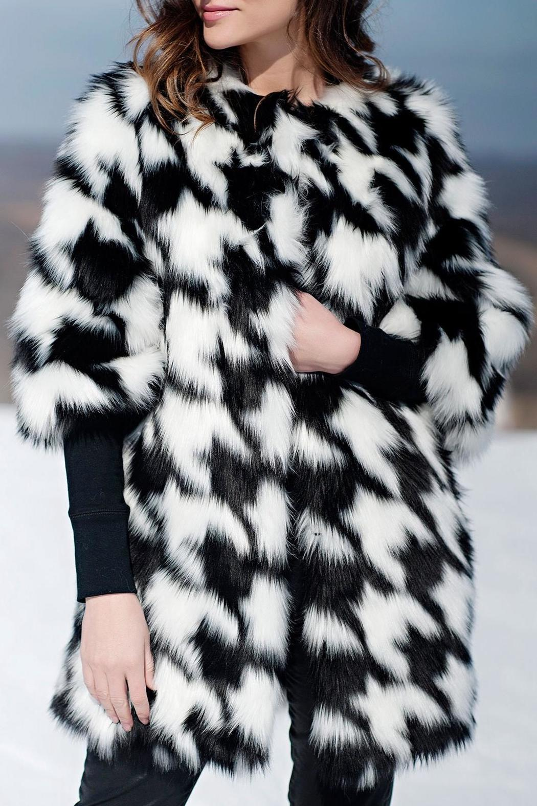 Locust Whimsy Faux Fox Houndstooth Coat - Front Full Image