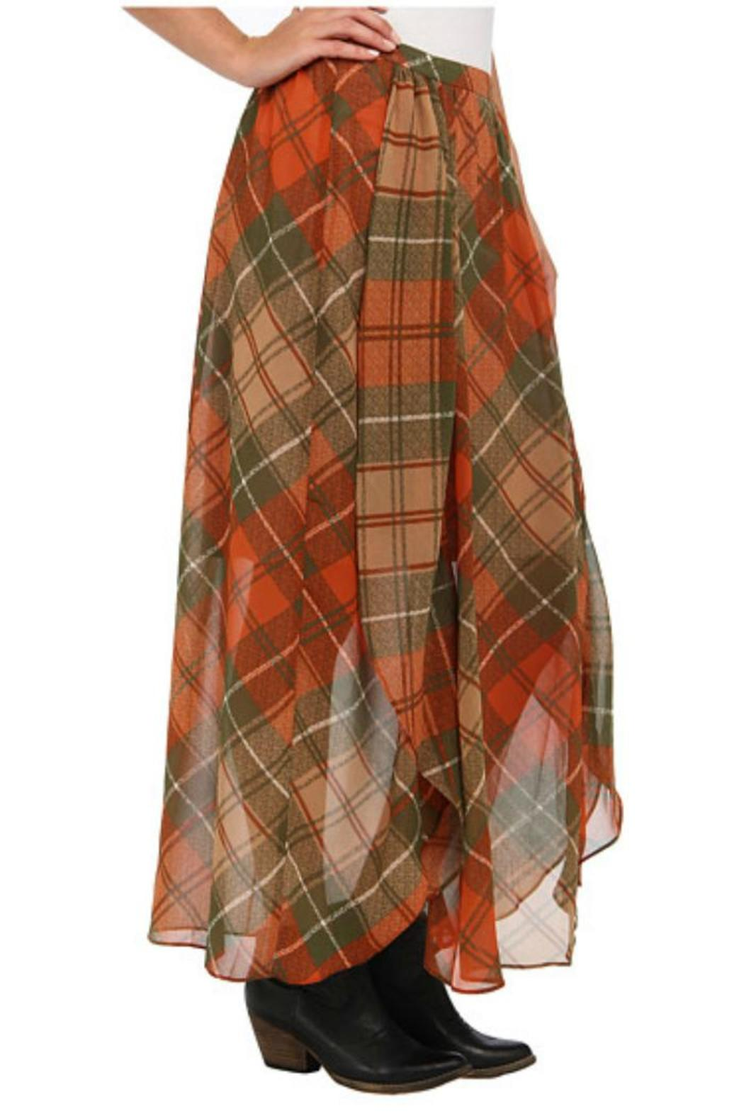 Locust Whimsy Plaid Maxi Skirt - Side Cropped Image