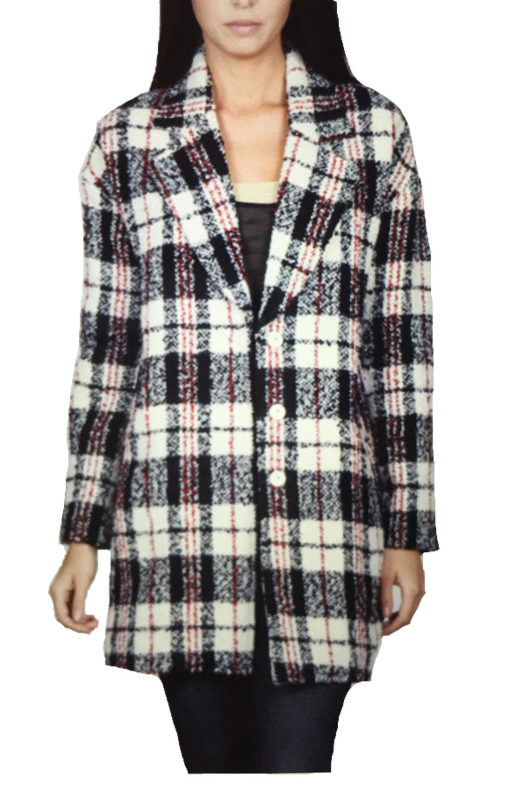 Locust Whimsy Plaid Oversized Coat - Main Image