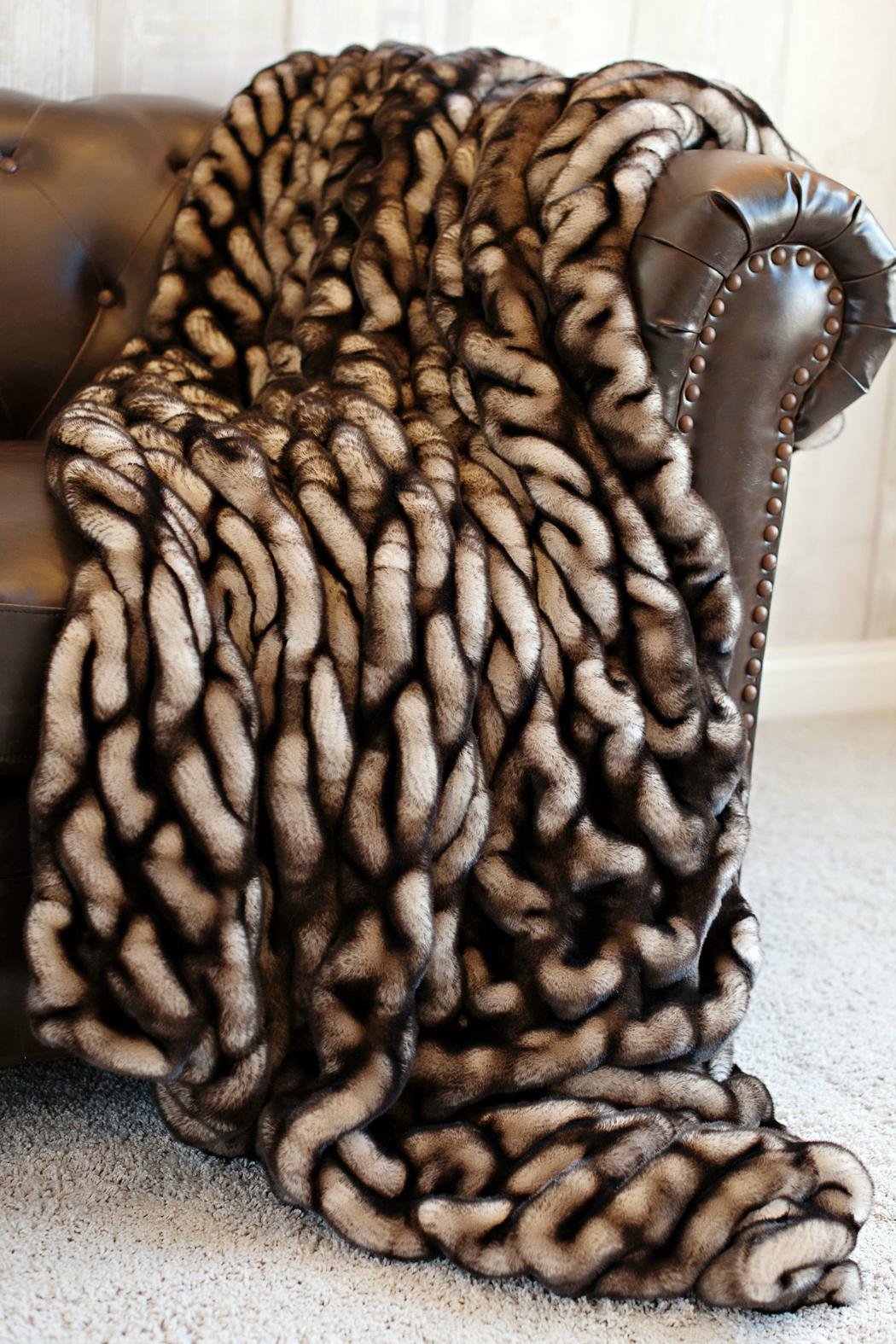Fabulous Furs Shadow Faux Mink Throw - Front Cropped Image